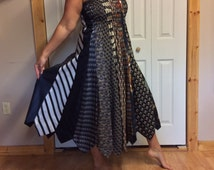 Long Necktie Maxi Dress/Plus Size/Silk Gown/Strapless/Tube Dress/Tie Dress/Mens Necktes/Upcycled Recycled Repurposed/Womens Size XL
