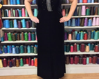 RESERVED Black Velvet Dress/Long Black Gown/Plus Size Dress/Tank Dress/Semi Formal Dress/Prom Gown/Evening Wear/Party/Upcycled Recycled