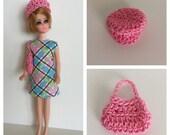 Handmade Dawn Doll Clothes Retro Plaid Dress Hat Purse