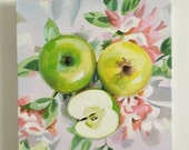Apples on a floral fabric 2 - acrylic ORIGINAL painting  on canvas - Drawing Still Life - wall art- wall decor- home decor