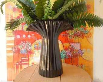 Vintage Black Fluted Vase | Retro Ceramic Planter | Home Decor