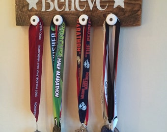 Believe authentic barn wood sign for runner medals running 20x6 inches custom unique gift rack race bib holder display quote