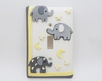 Elephant, Stars, Moon Light Switch or Outlet Cover - Gray, White, Yellow - Elephant Nursery - Children's Jungle Safari Themed Room