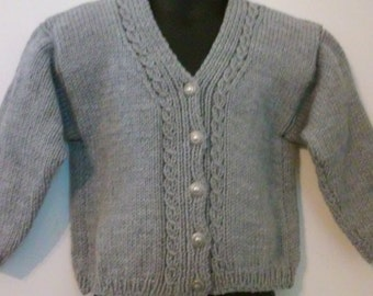 Hand knitted Gray stylish cabled unisex cardigan ,  size 2T