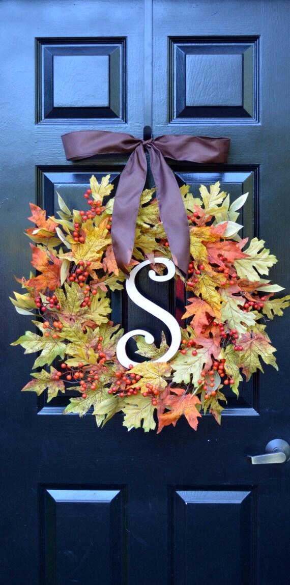 Fall Leaf Wreath- Autumn Wreath- Fall Wreath- Fall Decor- Monogram Wreath- Ready to Ship- Front Door Wreaths- Fall Leaves- Autumn Decor