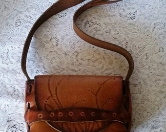Vintage Tooled Leather Hippie Handbag Petite-Small Size