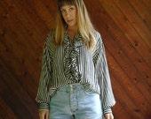 Striped SILK Ruffle Button Down Blouse - Vintage 90s - L XL