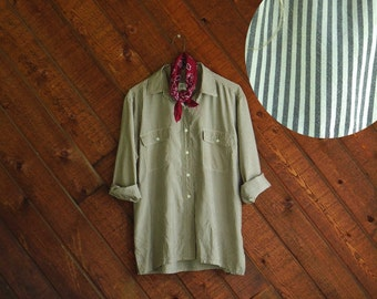 Grey Blue Striped SILK Button Down Shirt - Vintage 90s - M L