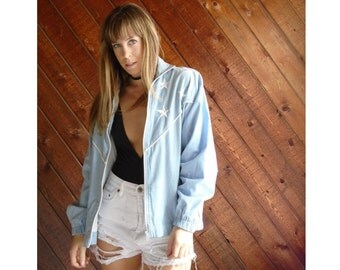 Chambray Bomber Jacket with Embroidered Stars - Vintage 90s - MEDIUM