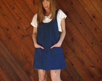 Navy Blue Overalls Mini Jumper Dress - Vintage 70s 80s - XS S