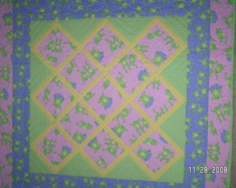 Pink and Purple Frogs Baby Quilt, Crib Quilt, Girl Quilt, Wall Hanging and Pillow