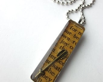 Book page resin bezel necklace, for our own joy, arrow necklace