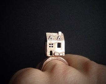 Dollhouse Ring -  Statement ring - handmade in my Austin Tx studio - inspired by Jewish temple rings and miniature dollhouses