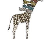 GIraffe with scarves illustration print nursery art animal print kids room decor
