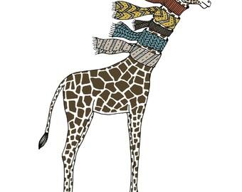GIraffe with scarves illustration print nursery art animal print kids room decor