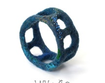 Beaded Textile Bangle Bracelet No. 47 Denim Blue Wet Felt with Merino Wool Silk
