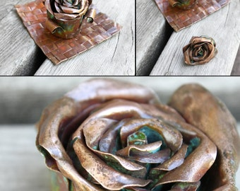 Copper Metal Sculpture Rose Bud Dish Jewelry Holder, Ash Tray, Incense Burner - Unique Wedding or Anniversary Gift Idea - READY TO SHIP