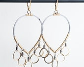 Caitlin Chandelier Earrings in Silver & Gold Teardrop
