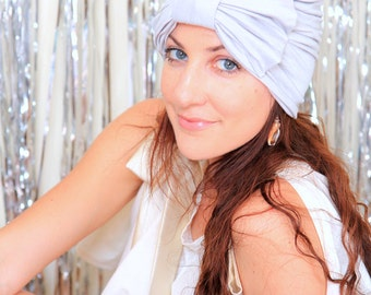 Turban Hat with Bow - Silver Grey Hair Wrap in Jersey Knit - Women's Fashion Head Covering - Lots of Colors