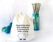 Funny Drawstring Project Bag for Knitters and Crocheters, Funny Tote Bag, On the Go Bag, Sock Knitting Bag