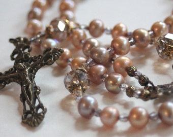 Champagne Cultured Pearl Catholic Wedding Rosary
