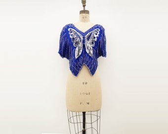 Sequin Butterfly Top Vintage Beaded Top Cobalt Blue Top Sequined 80s Top Vintage Crop Top Swallow Tail Top Silk Sequin Top s