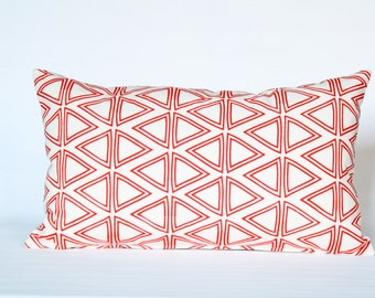 Tri Tri Again - mid century triangle pattern, organic, screenprinted pillow