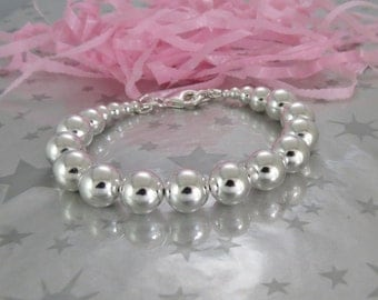 Sterling Silver Large Round Bead Bracelet. Hand Stamped Personalized Name or Initial Charm. Statement Jewelry.