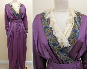 Vintage 1910s Edwardian Purple Silk Peg Top Dress SZ S - M