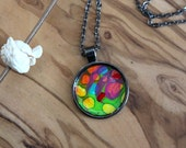 Abstract Art Necklace, Colorful Original Acrylic Painting - Pendant Necklace, One of a kind, Gifts for Women, circle pendant, handmade