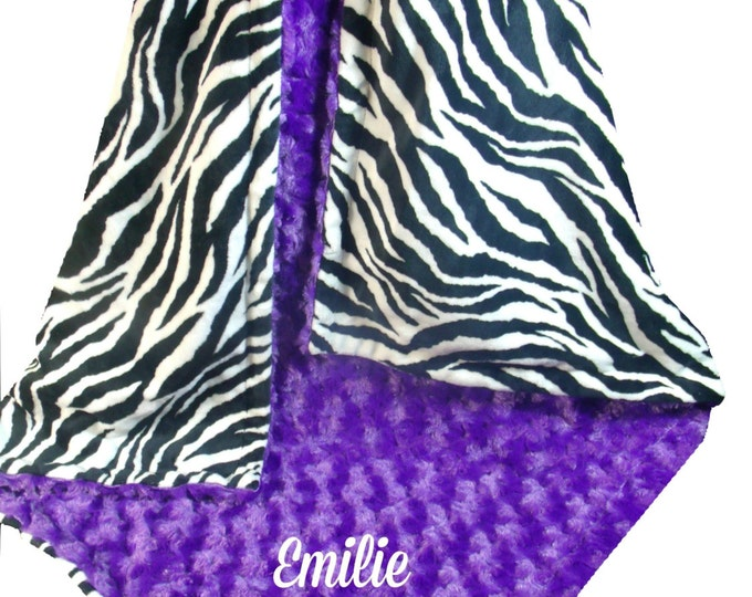 Purple Rose Swirl and Zebra Print Minky Dot Baby Blanket, Purple Black Minky Blanket, available in three sizes, Can Be Personalized