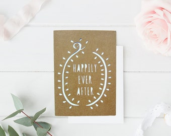 Wedding Greeting Card - Engagement Card - Happily Ever After Card - Wedding Gift Ideas - Card for Newlyweds - Paper Cut Wedding Card - Love