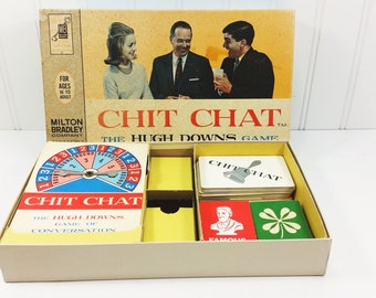 Chit Chat Game, Hugh Downs Game of Conversation, 1963 Milton Bradley #4316 Board Game