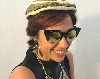 Vintage hat woven hat beige hat light 50s/60s hat