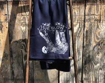 SALE! Stadium Blanket SLOTH (Live Slow) DryBlend® Fleece Heavyweight