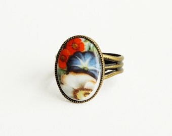 Flower Cameo Ring Vintage Floral Glass Orange Blue Adjustable Morning Glory Daisy Jewelry Garden Flowers