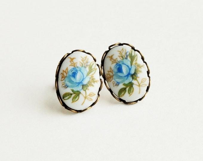 Blue Rose Post Earrings Vintage Cameo Stud Earrings Blue Flower Studs Hypoallergenic Rose Jewelry Victorian Light Blue Bridal Earrings