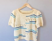 Cream Patterned 70's Sweater