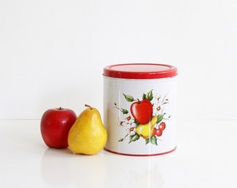 Decoware Fruit Kitchen Canister / Retro Red and White Kitchen Tin / Decoware Apple Pear and Cherries Tin / Mid Century Kitchen Tin