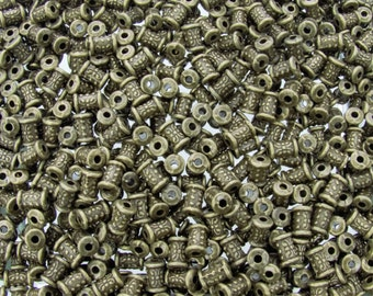 7x5mm (1.50mm hole size) Antique Brass Base Metal Decorative Tube Spacer Beads - Qty 20 (G207)