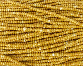 6/0 Opaque Sandstone Picasso Czech Glass Seed Bead Strand (CW187)