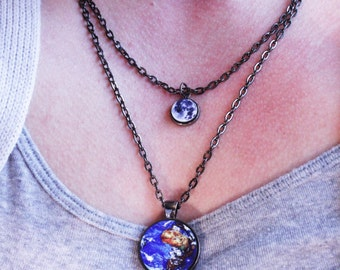 Planets - Earth and Moon necklace - Science Jewelry - Gunmetal