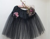 RESERVED *** Tulle Tutu Skirt Traditional Style Black Net Vintage 1950s Taffeta Burlesque Petticoat Dress Up Pink Rose Corsage Size 12 - 16