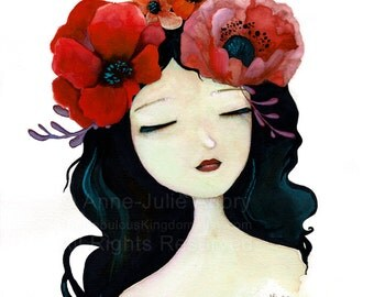 Flower Girl # 5 - Original Watercolor - Portrait - Whimsical Art - Fairytale