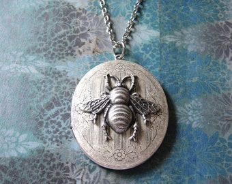 Bumble Bee Secrets - Vintage Style Silver Tone Locket with Bee, Long Elegant Handmade Necklace - Gift Box