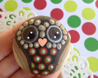 Hand Painted Christmas Owl Stone Paperweight