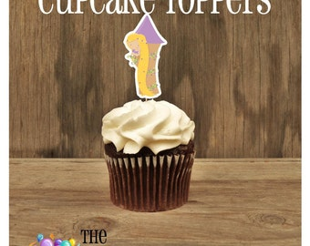Princess Party - Set of 12 Rapunzel Cupcake Toppers by The Birthday House