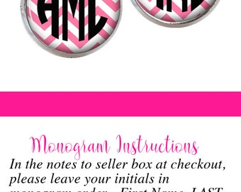 Monogram Earrings Pink Chevron (385)