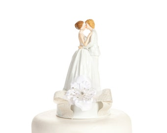 Romance Ribbon Accents Lesbian Cake Topper - Custom Painted Hair Color Available - 103055