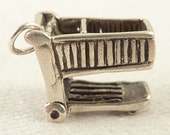 Vintage Sterling Shopping Cart Charm or Miniature